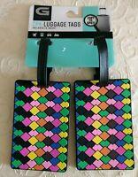 NWT G Force 2-pk PVC Geometric Pattern Luggage Tags Travel Bag Tote Accessories
