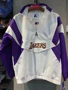 LOS ANGELES LAKERS NBA Starter Hooded Half Zip Pullover Jacket WHITELOS ANGELES