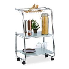 Rollwagen Metall mit 2 Glasablagen, Gitterkorb, schmaler Beistellwagen für Küche