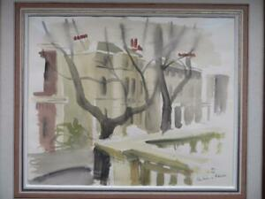 INTERESTING MID 20th Century impressionist signed watercolour CHELSEA LONDON