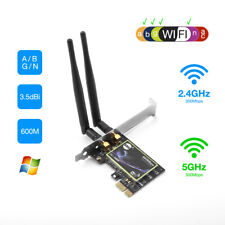 Dual Band 2.4G/5G PCI-E WiFi Wireless Card Adapter 600Mbps for Desktop Computer