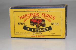 MATCHBOX LESNEY #64A SCAMMELL BREAKDOWN WRECKER TRUCK, ORIGINAL TYPE C BOX ONLY