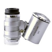 60X Lupe Mini Mikroskop Taschen Taschenlupe Juwelierlupe Schmuck LED UV