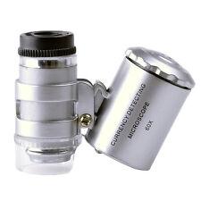 60 Lupe Mini Mikroskops Taschenmikroskop Taschenlupe Juwelierlupe Schmuck LED UV