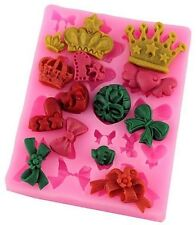 Crowns & Bows 19 Cav Silicone Mold for chocolate, fondant, gum paste, crafts etc