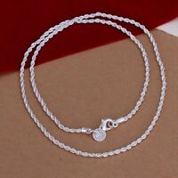 2MM Rope Fashion 925 silver cute women lady Men noble Chain Necklace jewelry
