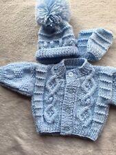 Hand Knitted Baby Boy's Newborn Jacket, Hat & Mitts