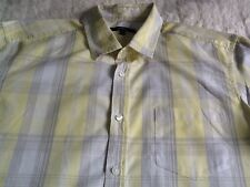 MENS CHECK SHIRT YELLOW GREY WHITE LARGE