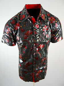 Mens Short Sleeve Shirt Black Shiny Red Green Foil Florals Stretch Button Up