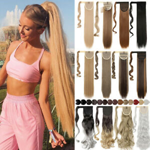 "AU 32"" Real Long Straight Ponytail Hairpiece Clip In On Hair Extensions as Human"
