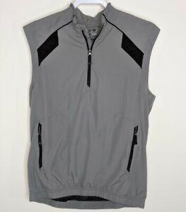 Adidas Mens S Golf Clima Proof Vest Pullover Wind Athletic Gray Black Pockets