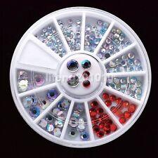 2MM 3MM 4mm Round 3D Nail Art Rhinestones Wheel Red White AB Decoration Tools