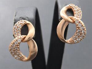 NEU Ohrringe earrings 925 Sterling SILBER Ohrhänger Zirkonia rose vergoldet
