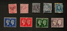 Great Britain Mixed Lot of 9 Stamps, 10 Blue/ 1 Piastre Ovpt. Affixed to Card