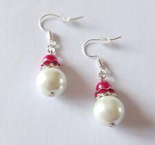 New Handmade White Pink Glass Pearl Rhinestone Round Beaded Dangle Drop Earrings