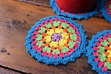 NEW 4 Handmade Crochet Round Coasters Multi Colours Stripes Vintage Chic Doily