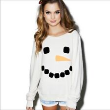 Wildfox frosty face sweatshirt, baggy beach jumper, pullover, white. s. xs, m, l