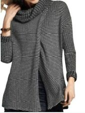 Cabi Fergie Striped Cowl Turtleneck Split Drape Sweater, #3167, NWOT