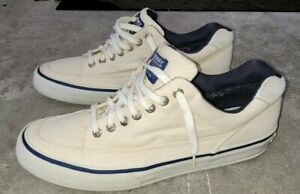 Vtg Sperry Marine Top Sider Size 11.5 White Cream Boat Shoe Canvas FREE SHIPPING