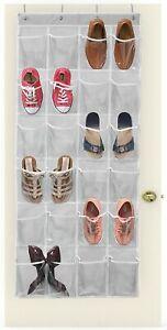 24 Pockets Over The Door Shoe Organizer Rack Hanging Storage Holder Bag Closet