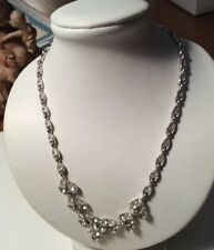 Vintage BOGOFF Rhinestone Clear Necklace Art Deco Henery Bogoff