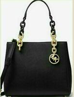 NWT Michael Kors Cynthia Small Leather Satchel Bag $278 Black