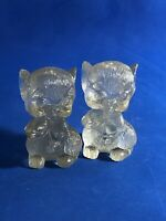 """Vintage 60's Clear Acrylic Cute Kitsch Mice Mouse Salt and Pepper Shakers 3"""""""