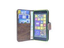 Book-Style Handyhülle Tasche Case Cover für Nokia Lumia 630 + Folie // Braun