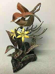 Vintage NORMAN BRUMM Enamel On Copper-Wren (Bird) On Flowers On Driftwood!