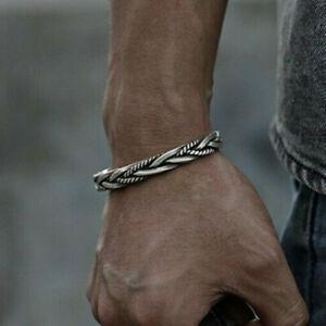 Hot Vintage Thai Cuff Men Twisted Bracelet Open Bangle 925 Sterling Silver
