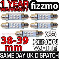 5x 38mm 39mm matrícula Luz Interior Festoon bombilla 6 Led Xenon Blanco 239 272