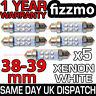 5x 38mm 39mm NUMBER PLATE INTERIOR LIGHT FESTOON BULB 6 LED XENON WHITE 239 272
