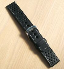 Black leather 20mm watch strong band,perforated,full grain,L gray,EU custom made