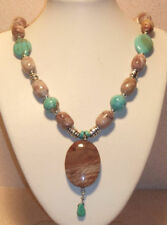 Soft Taupe Brown Marble & Turquoise Necklace