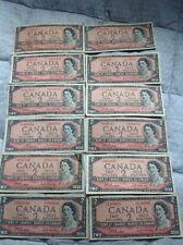 Lot Of Canadian 1954 Two Dollar Bills