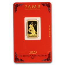 2020 ~ 5~GRAM ~.9999 GOLD ~ YEAR of the RAT ~ PAMP SUISSE ~SEALED BAR~ $9.99 BID
