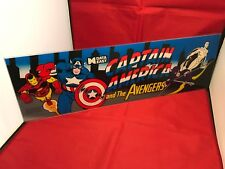 Captain America And The Avengers Hard Plexi Arcade Marquee *Vintage* Genuine