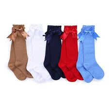 bacd47f9ce0 Toddler Kid Baby Girl Knee High Long Socks Bow Cotton Casual Stockings 0-4Y  SD