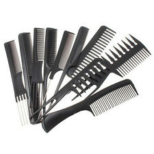 10Pcs Black Hair Styling Hairdressing Plastic Barbers Brush Combs Set