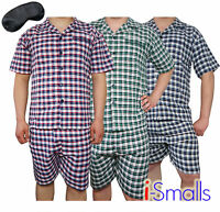 i-Smalls Men's Soft Cotton Check Summer Pyjama Set with Black Eye Mask