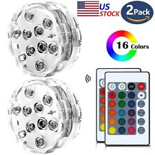 2pk 10 LED RGB Color Waterproof Wedding Party Vase Base Light Floral Remote