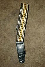P&P Music Retro Vintage Woven Acoustic Electric Guitar Bass Strap Yellow