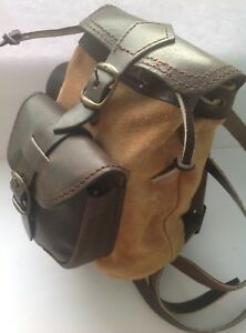 MINI SUEDE LEATHER BACK PACK / RUCK SACK TAN BROWN