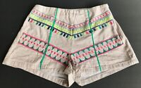 Flying Tomato Anthropologie High Waisted Shorts Medium Striped Embroidered