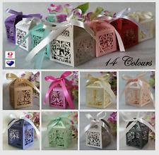 10/25/50/100 Laser Cut Favor Boxes Bombonierre Candy Love Heart Wedding Gift Box
