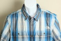 The North Face Men's blue and white plaid short sleeve outdoors shirt XL