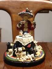 "San Francisco Music Box 1997 Ruth Ninneman ""Tea For Two"" Tea Party With Cats Euc"