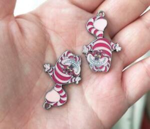 20pcs cartoon Alice cat Enamel Metal Charm Pendant DIY Jewelry Making