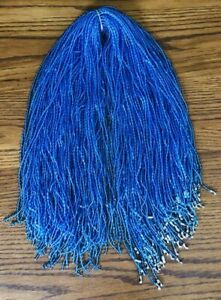 LOT 100 PIECE BLUE PLASTIC BEADED CHAIN NECK NECKLACE LANYARD CRAFTING JEWELRY
