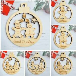 Christmas Bauble Personalised Family Tree Decoration Wooden Xmas Gift Gifts PLY